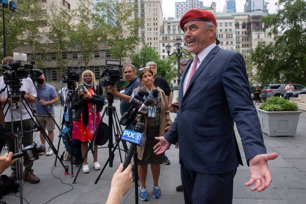 Republican mayoral candidate Curtis Sliwa holds a press conference in front of Brooklyn Borough Hall on gun violence, July 19, 2021.