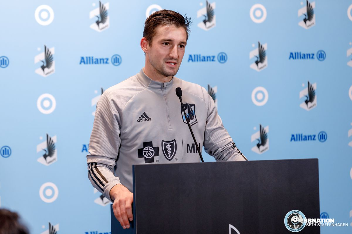 March 10, 2020 - Saint Paul, Minnesota, United States - Minnesota United midfielder Ethan Finlay (13) answers questions for the media after the Loon's first team practice at Allianz Field.
