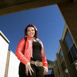 Alana Smith poses for a photo at Brigham Young University in Provo, Monday, Oct. 8, 2012.