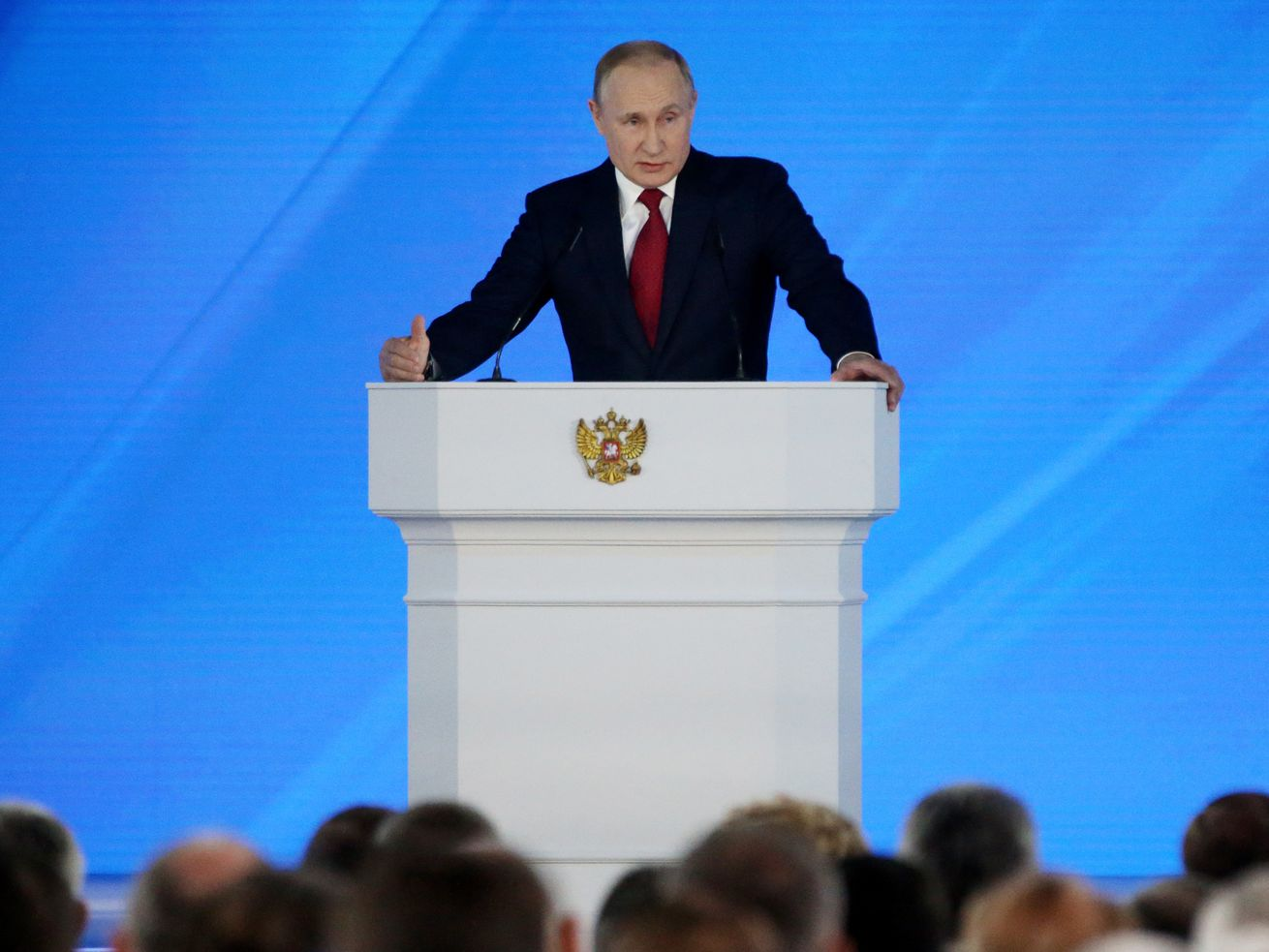 Russian President Vladimir Putin addresses Federal Assembly in Moscow