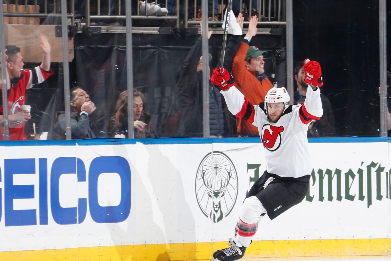 Fredrik Claesson #33 of the New Jersey Devils celebrates after scoring a goal in the second period against the New York Rangers at Madison Square Garden on March 7, 2020 in New York City.
