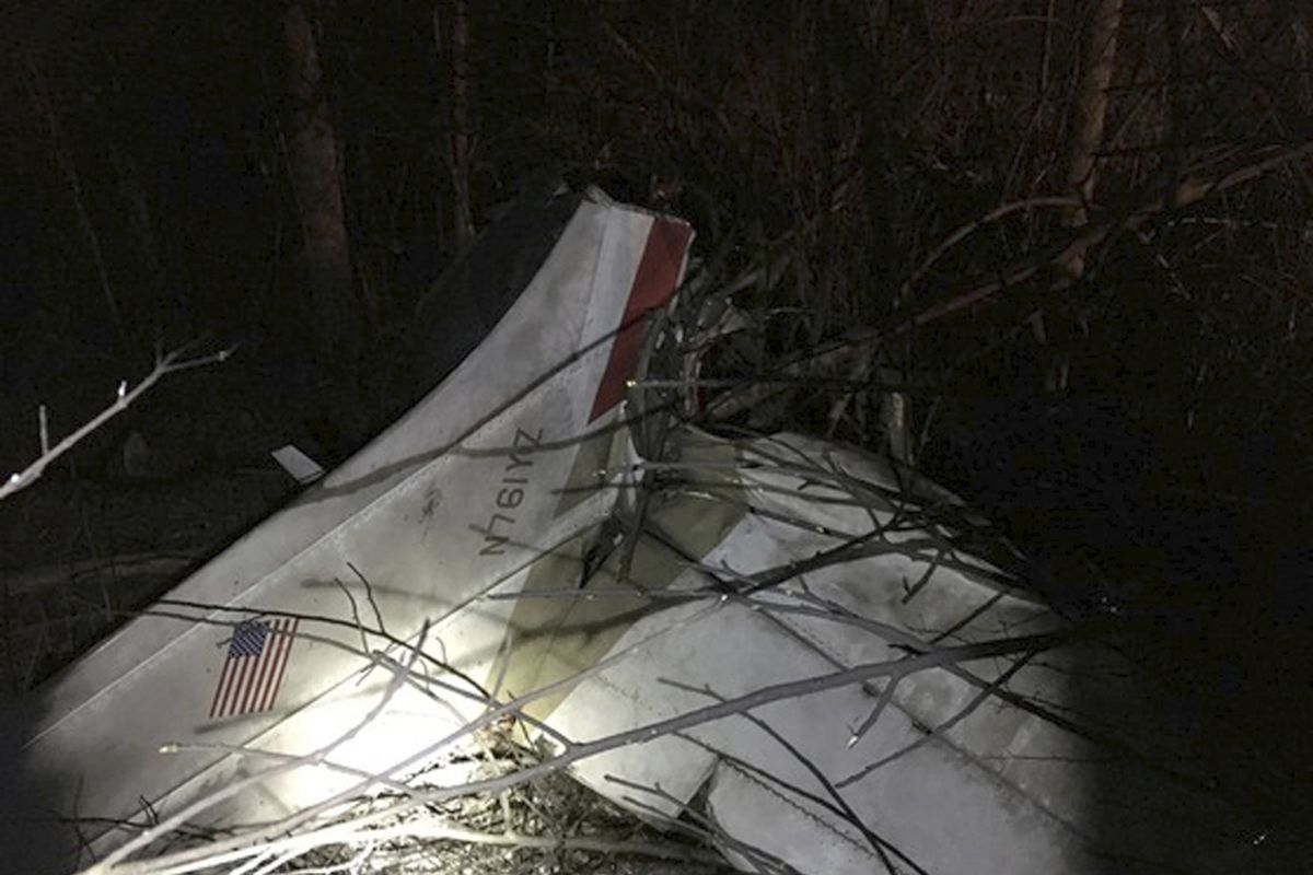 A photo provided by the Indiana State Police shows the wreckage from a small plane crash Saturday night, Dec. 16, 2017, in southeastern Indiana. Sgt. Stephen Wheeles says the crash of the single-engine Cessna plane near Oldenburg, Indiana, killed three pe