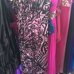 Strapless pink-and-black patterned chiffon gown, $100