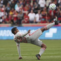 New York City midfielder Cristian Cásseres Jr. (23) kicks the ball in Sandy on Saturday, March 7, 2020. RSL tied with New York 1-1.