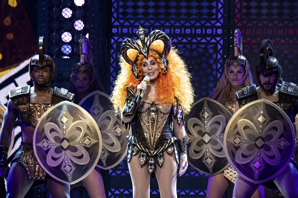 Cher performs during her Here We Go Again Tour at the KFC Yum! Center on Monday, Feb. 4, 2019, in Louisville, Ky.   Amy Harris/Invision/AP
