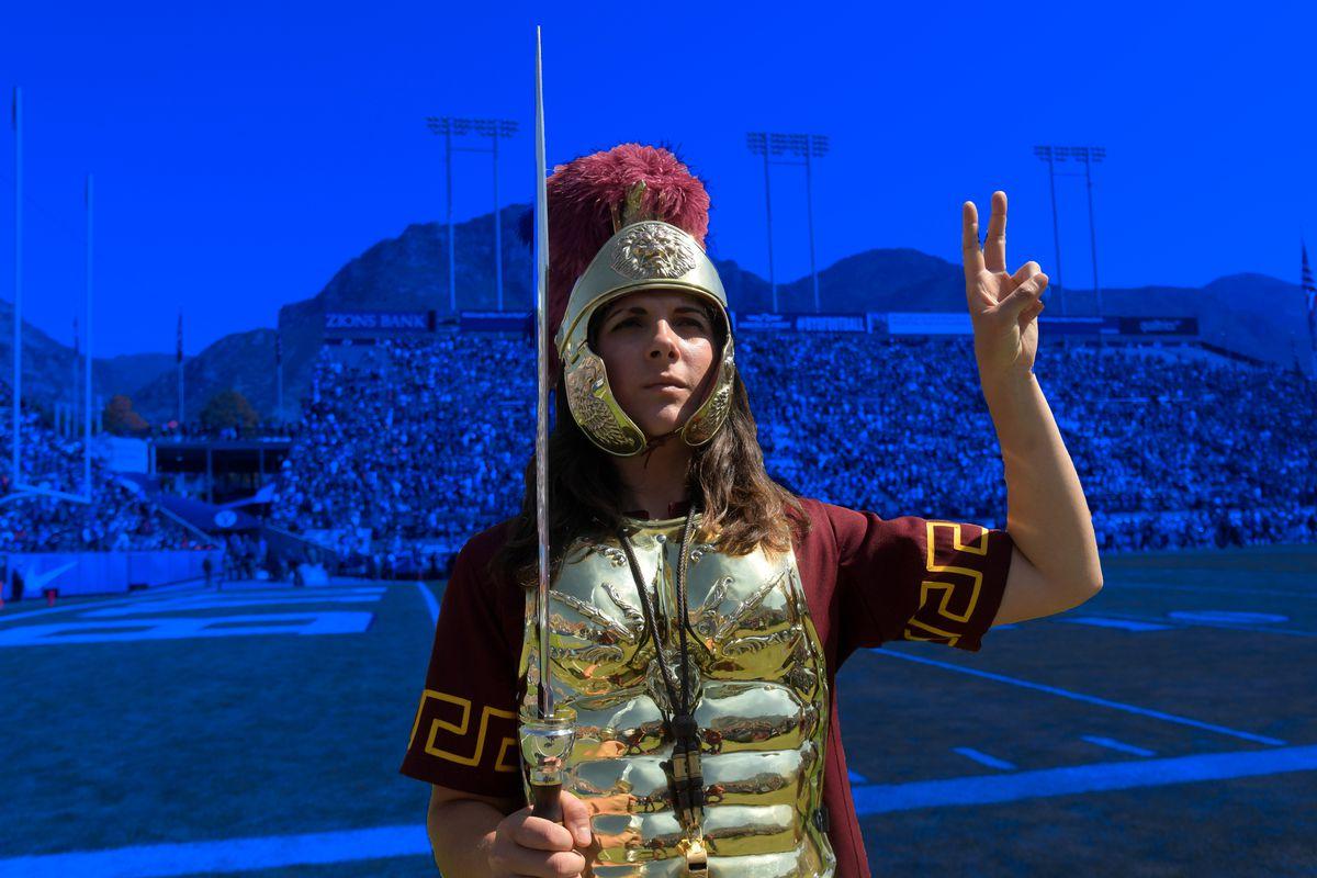 USC's mascot at a football game vs. BYU