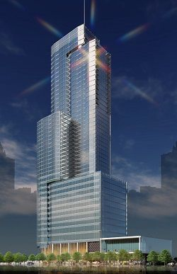 A rendering of a tall glass building.