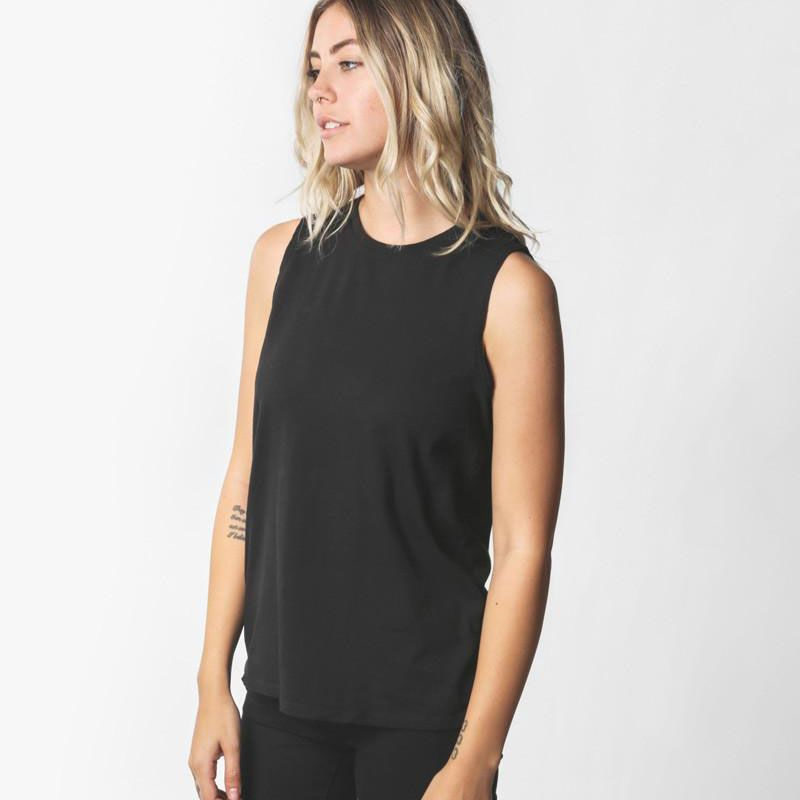 A black muscle tank top