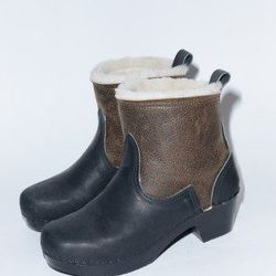 """No. 6 pull-on shearling boots, <a href=""""http://no6store.com/no6-clogs/5-pull-on-shearling-on-mid-heel-in-distressed-aviator-coal-on-black-base.html#"""">$370</a>"""