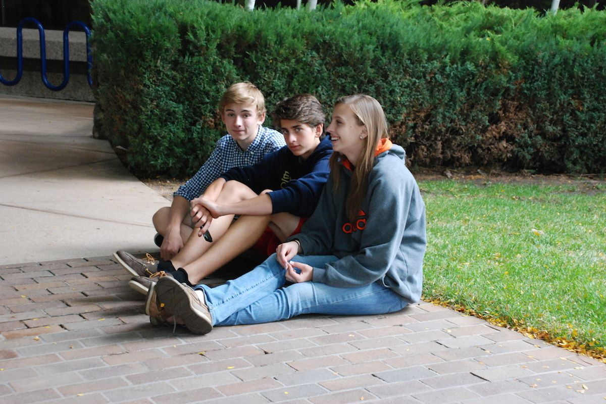 Evergreen High School students wait outside the Jeffco Public Schools Ed Center Monday morning. Some of their classmates met with Superintendent Dan McMinimee to discuss a proposed curriculum review committee.