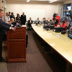 Sen. Curt Bramble, R-Provo, talks about former House Speaker Becky Lockhart at the University of Utah Medical Center on Saturday, Jan. 17, 2015, in Salt Lake City. Lockhart, 46, died at her home Saturday from an unrecoverable and extremely rare neurodegenerative brain disease.