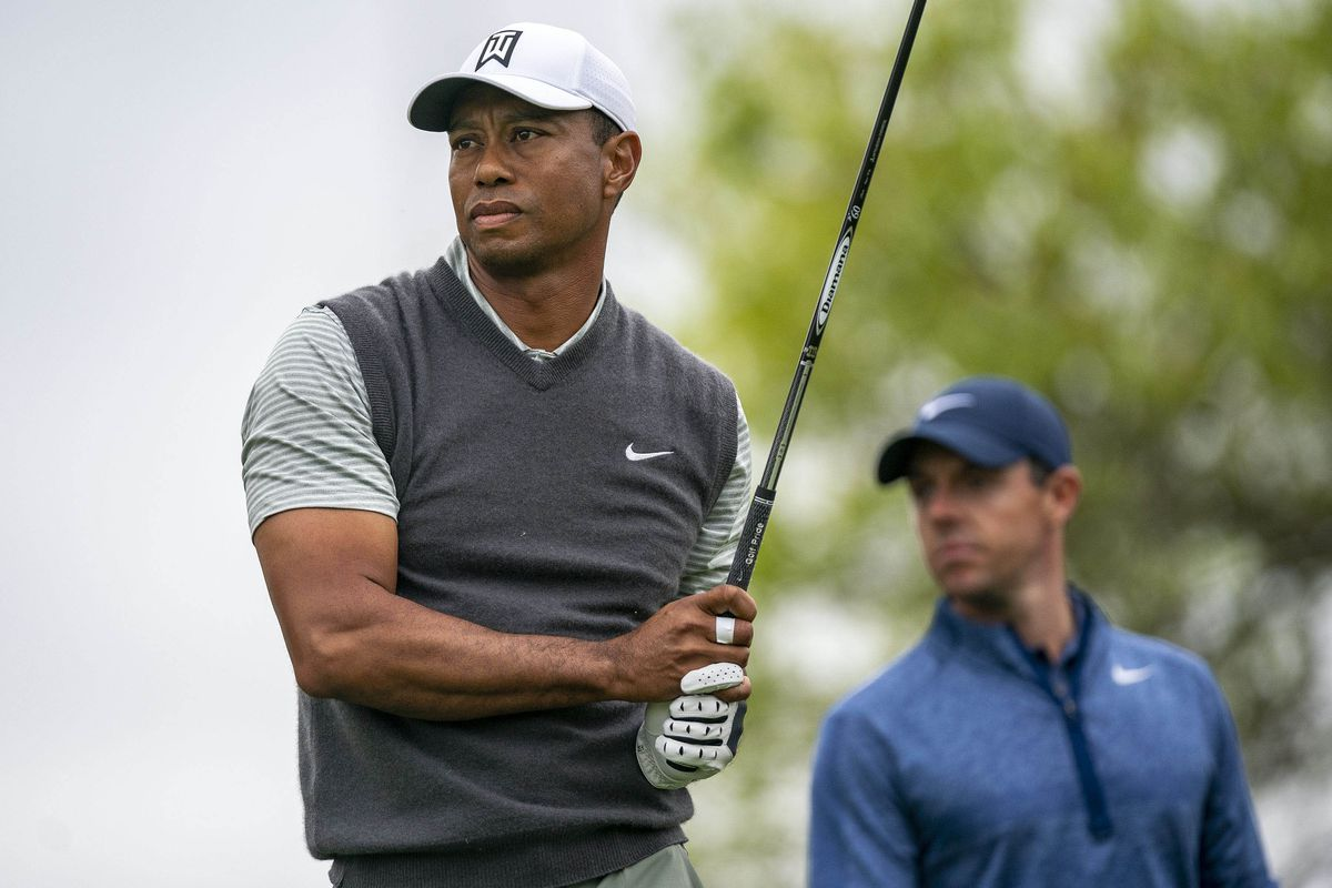 Tiger Woods and Rory McIlroy on the sixth hole during the fourth round of the WGC - Dell Technologies Match Play golf tournament at Austin Country Club.