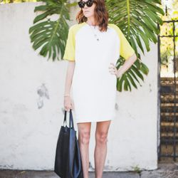 """Samantha of <a href=""""http://www.couldihavethat.com""""target=""""_blank"""">Could I Have That?</a> is wearing a MSGM dress, a Celine bag and sunglasses and <a href=""""http://www.neimanmarcus.com/en-mc/Manolo-Blahnik-BB-Patent-105mm-Pump-Nude-Made-to-Order/prod1599"""