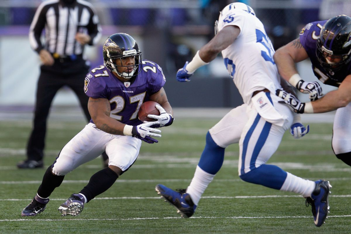 BALTIMORE, MD - DECEMBER 11:  Ray Rice #27 of the Baltimore Ravens carries the ball against the Indianapolis Colts during the second half at M&T Bank Stadium on December 11, 2011 in Baltimore, Maryland.  (Photo by Rob Carr/Getty Images)
