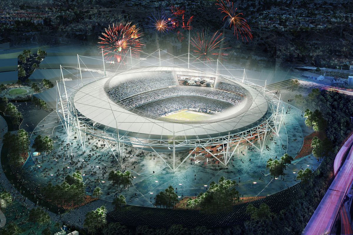 A rendering of CSAG's proposed Mission Valley Stadium