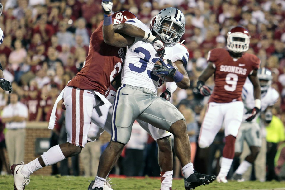 To me, this was the definitive play of 2012. I knew the game was over when John Hubert scored, and I knew we would win the Big 12 if we could knock of Oklahoma in Norman. Here's to many more such moments this year.