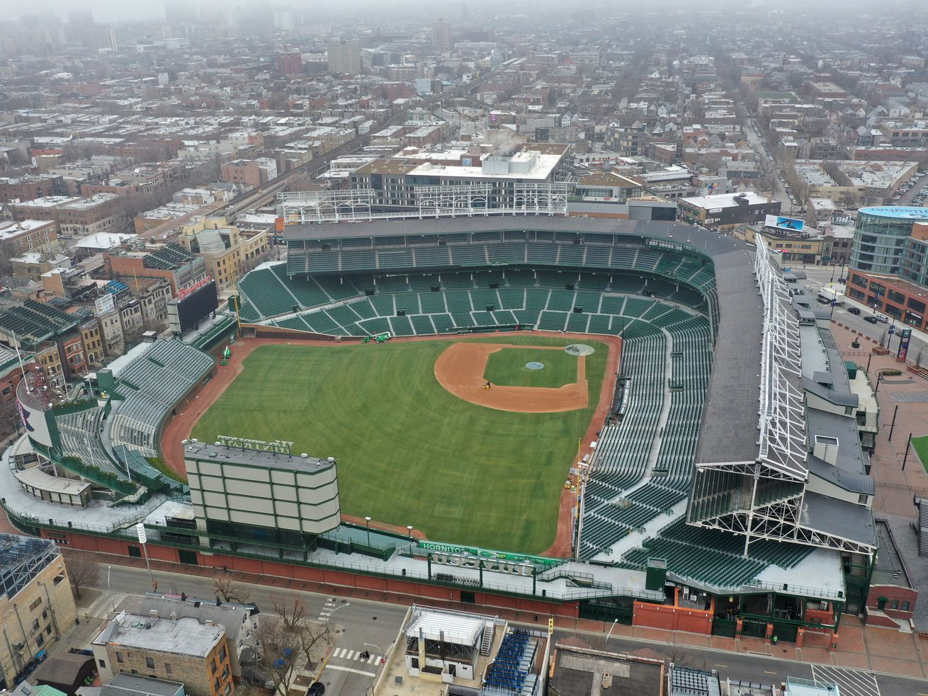An aerial from a drone shows Wrigley Field, home of the Chicago Cubs.