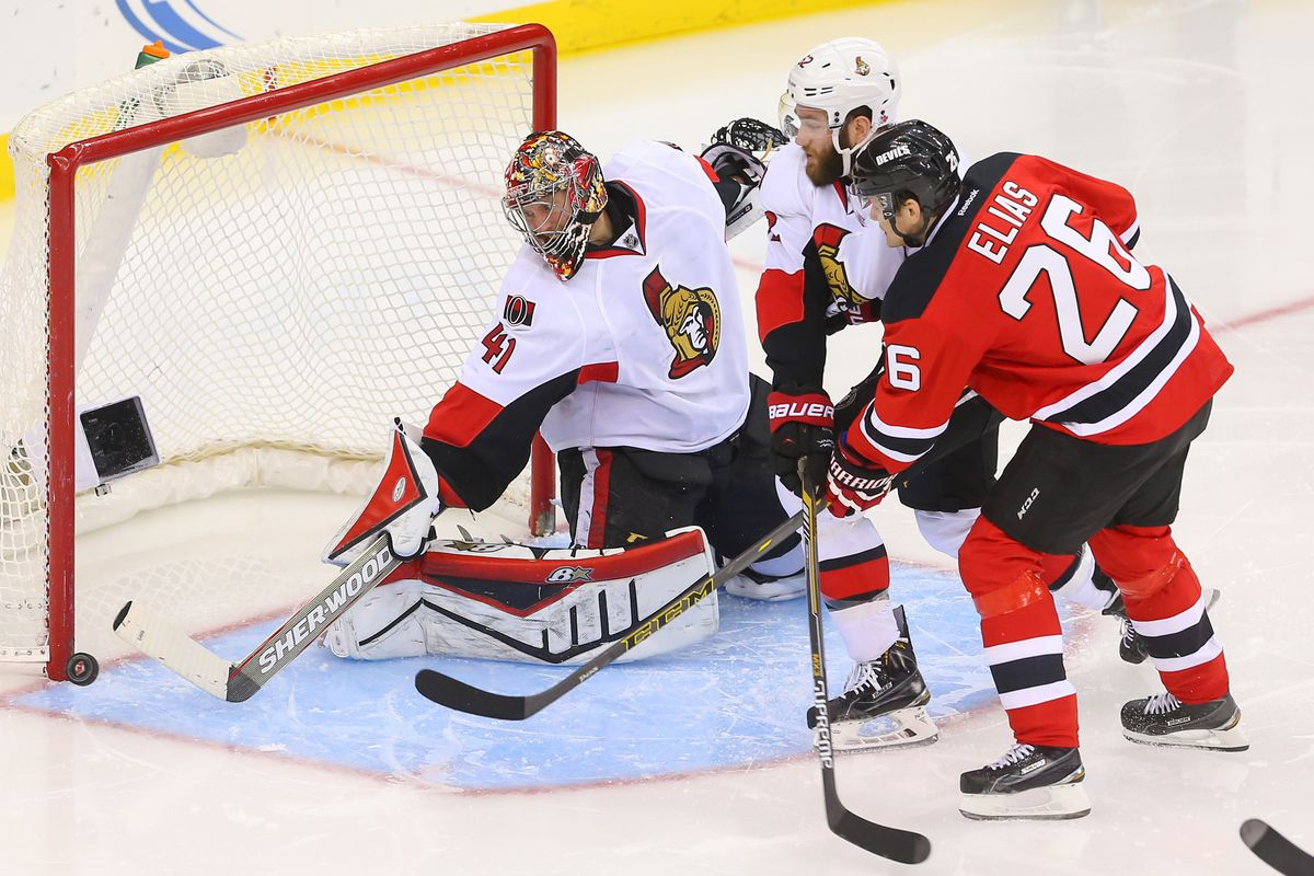 The closest the Devils came to scoring.  Elias put this rebound attempt wide.