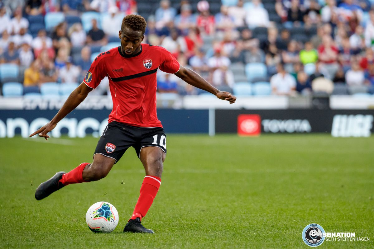 June 18, 2019 - Saint Paul, Minnesota, United States - Trinidad And Tobago midfielder Kevin Molino (10) passes the ball during the Panama vs Trinidad and Tobago match at Allianz Field.