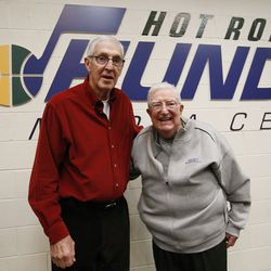 Former Utah Jazz coaches Jerry Sloan and Frank Layden pose in Salt Lake City on Saturday, Dec. 31, 2016.
