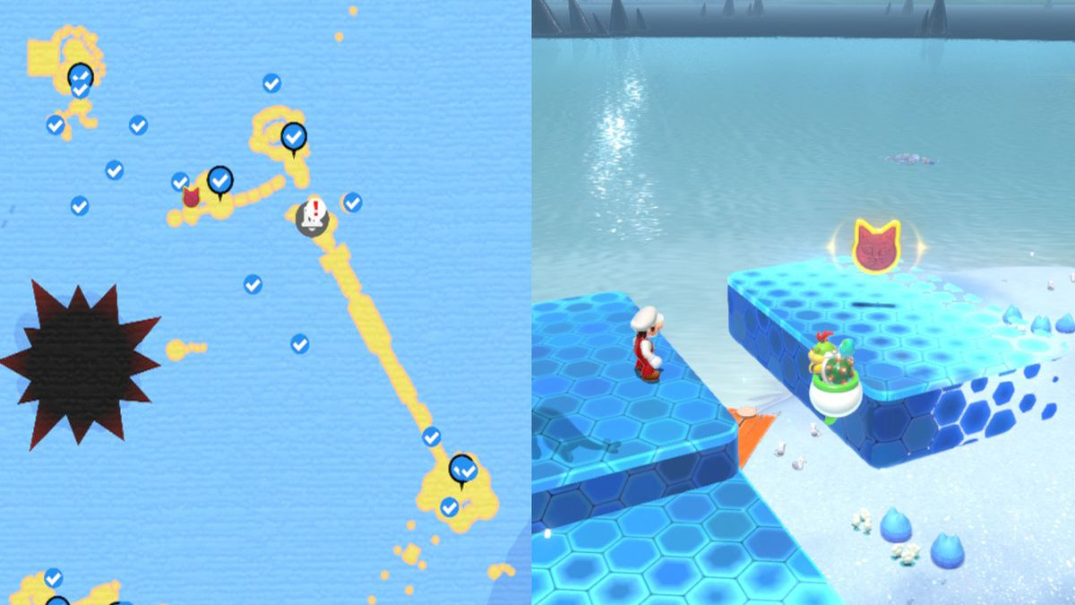 A map showing where to find a Cat Shine Shard on floating invisible platform.
