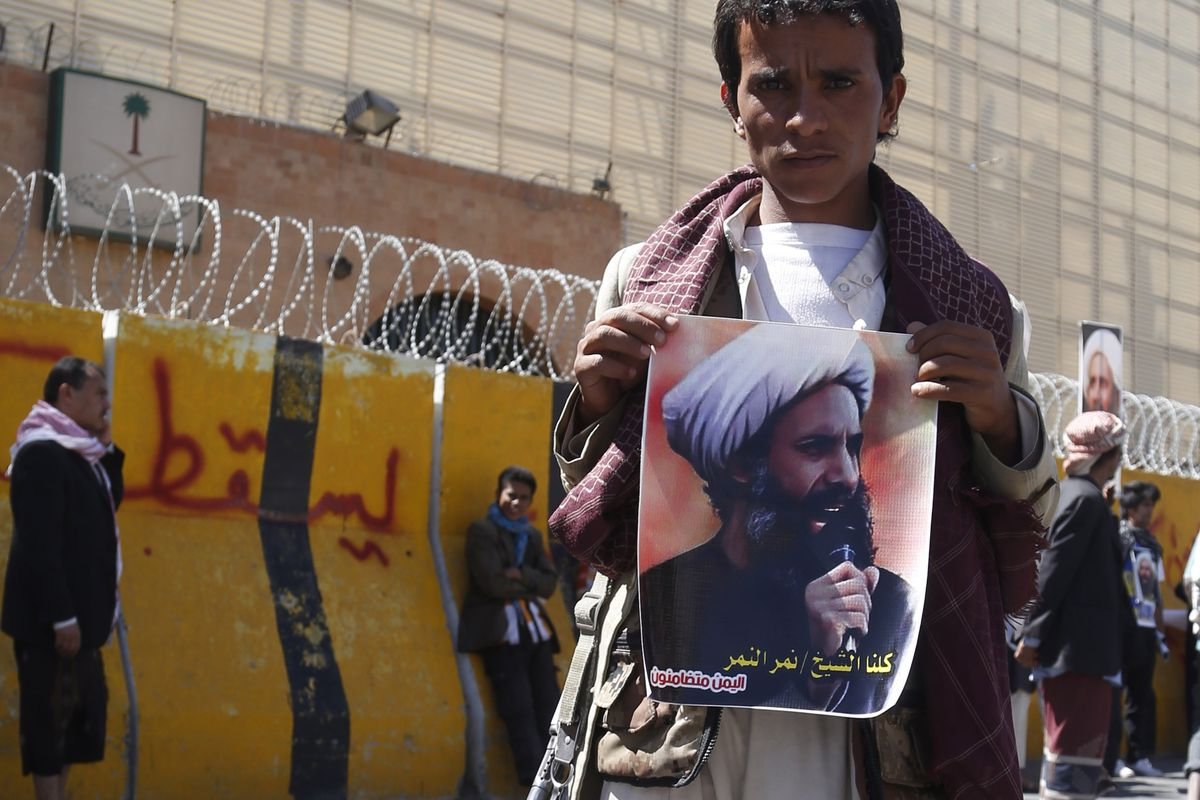 Yemeni Shias protest the Saudi death sentence for Nimr Baqir al-Nimr, a Shia cleric and protest movement leader.