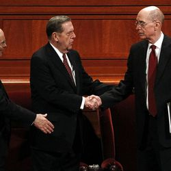 President Henry B. Eyring arrives for the afternoon session of the 182nd Annual General Conference for The Church of Jesus Christ of Latter-day Saints at the LDS Conference Center in Salt Lake City on Saturday, March 31, 2012.