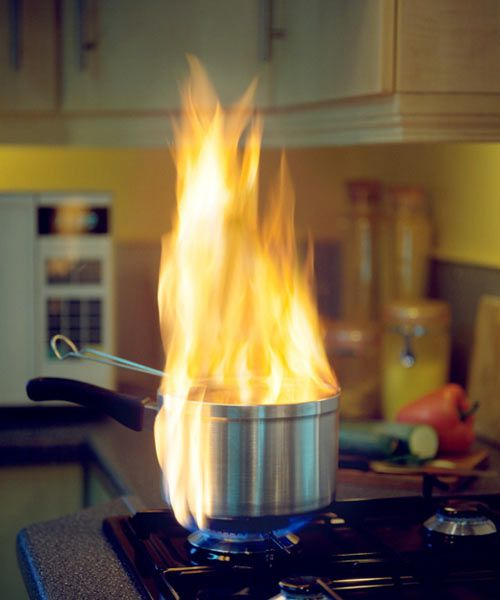 A Kitchen Pot Caught On Fire
