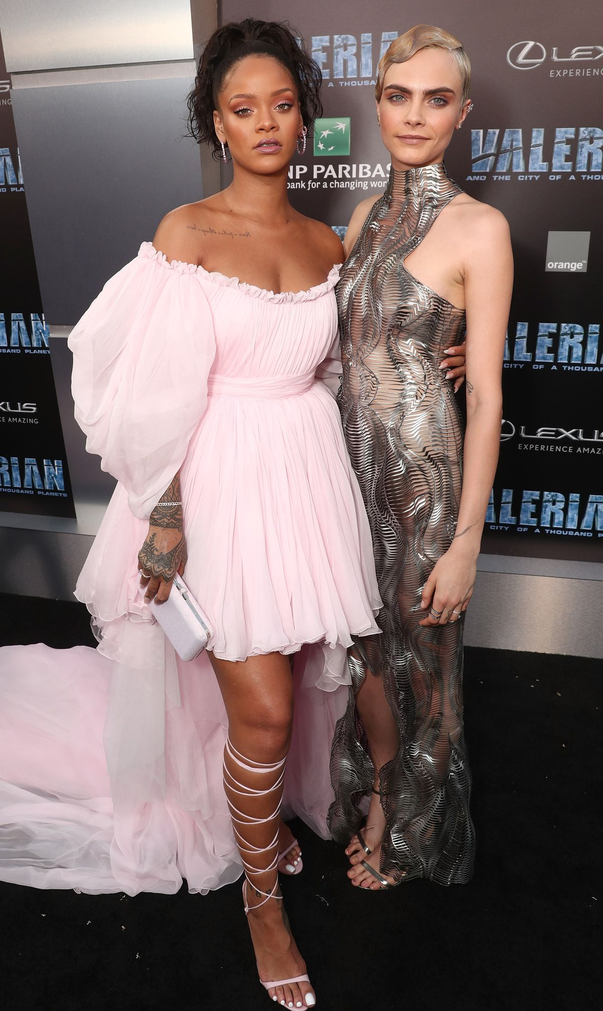 Rihanna and Cara Delevingne attend the premiere of EuropaCorp And STX Entertainment's 'Valerian And The City Of A Thousand Planets' at TCL Chinese Theatre on July 17, 2017 in Hollywood, California.