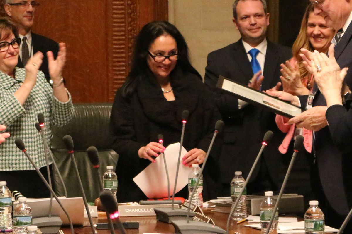 Chancellor Betty Rosa, center, at a past Board of Regents meeting.