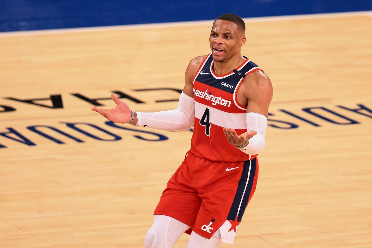 Washington Wizards guard Russell Westbrook reacts after a call during the first half against the New York Knicks at Madison Square Garden.