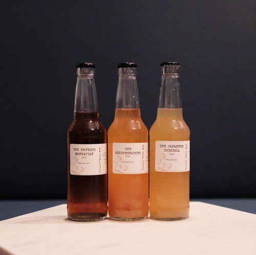 Three bottled cocktails.