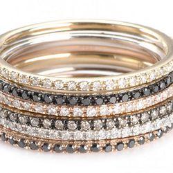 "<b>Gabriela Artigas</b> 14kt gold stackable rings with white diamonds, $560 each at <a href=""http://store.gabrielaartigas.com/axis-14k-rose-band-white-diamonds/""target=""_blank"">Gabriela Artigas</a>."
