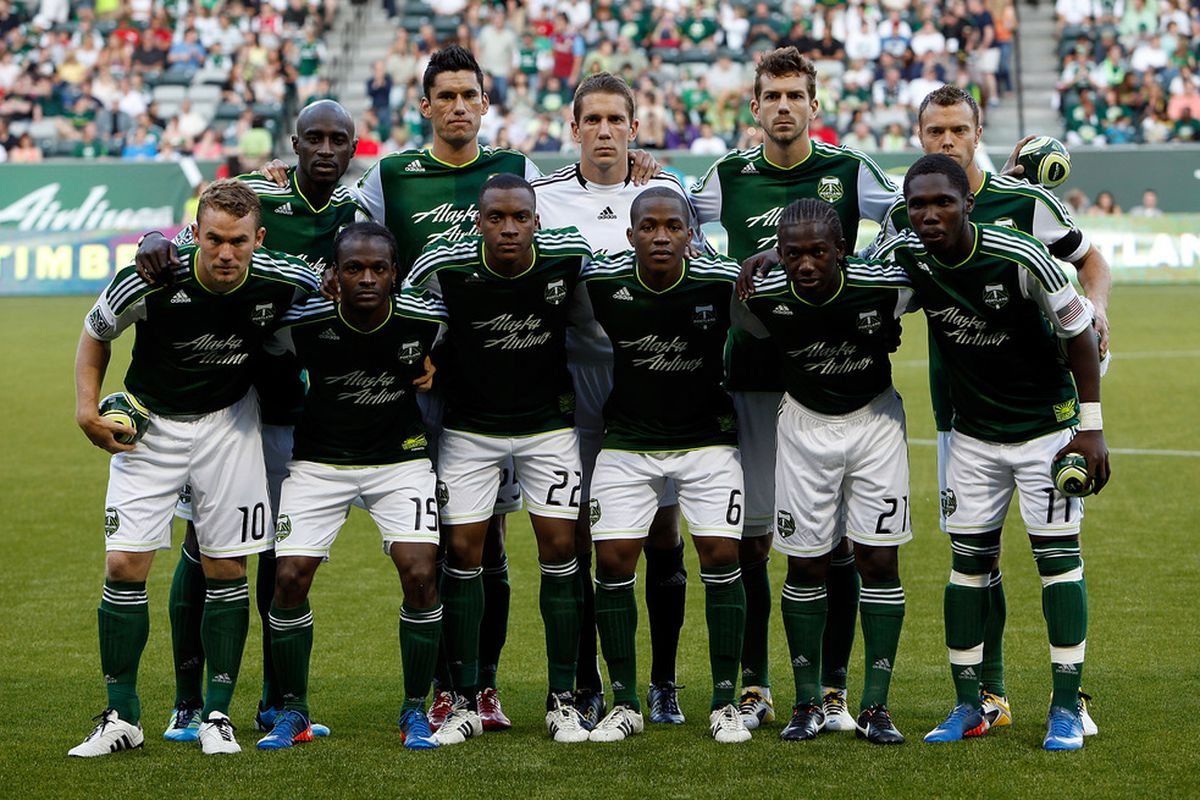 PORTLAND, OR - JULY 02:  The starters of the Portland Timbers pose for a picture before the start of the game against Sporting Kansas City on July 2, 2011 at Jeld-Wen Field in Portland, Oregon.  (Photo by Jonathan Ferrey/Getty Images)