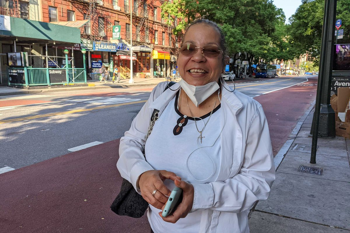Lillian Washington was waiting for a bus in Manhattan when she said she was undecided about who to support in the District Attorney race, June 14, 2021.