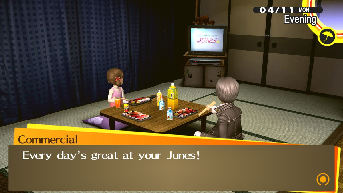 """The TV plays """"every day is great at your Junes,"""" while the protagonist and Nanako eat"""