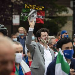 Hundreds gather for the Columbus Day: Italian American Heritage Celebration at Arrigo Park in the Little Italy neighborhood, Monday morning, Oct. 12, 2020.