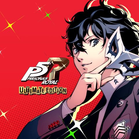 """Joker removes his mask on a red background, next to the words """"Persona 5 Royal Ultimate Edition"""""""