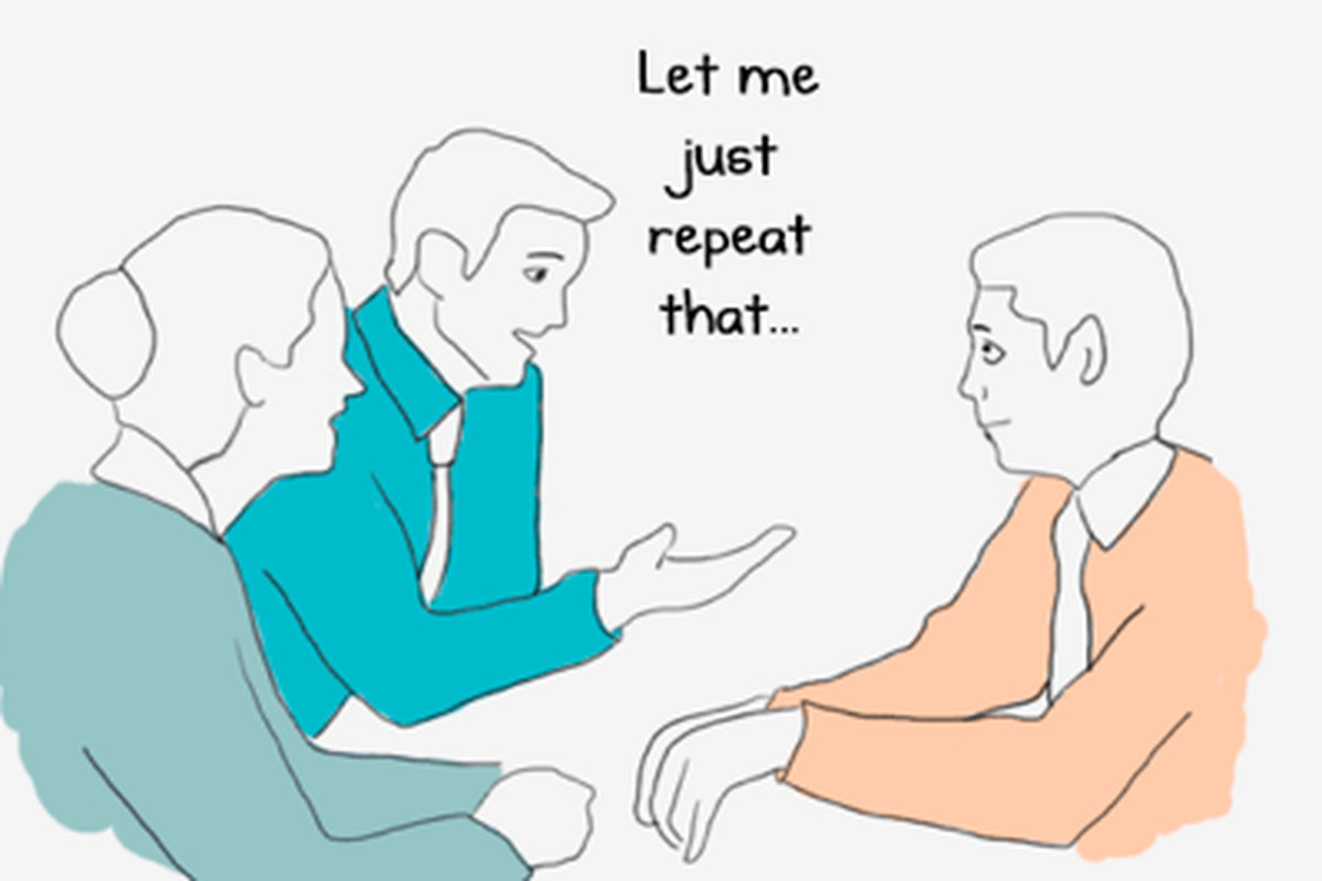 A cartoon of how to appear art in meetings by restating what someone else has just said.