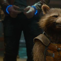 Rocket Racoon (Voiced by Bradley Cooper) in Marvel's Guardians of the Galaxy.
