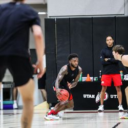 Runnin' Ute David Jenkins Jr. drives during workout at the University of Utah's basketball training facility. The UNLV transfer is expected to be a key contributor for Utah in the 2021-22 season.
