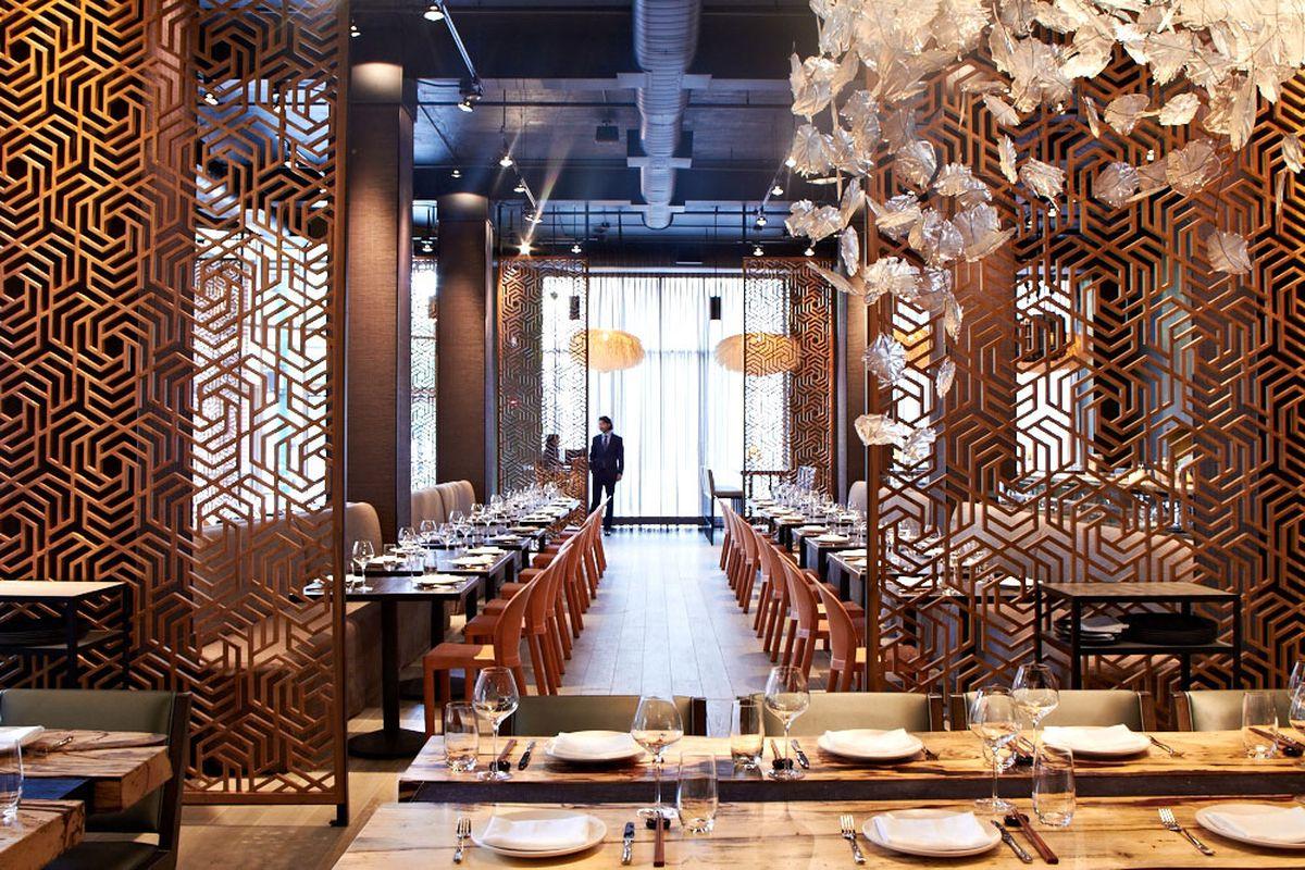 Inside a fancy restaurant.