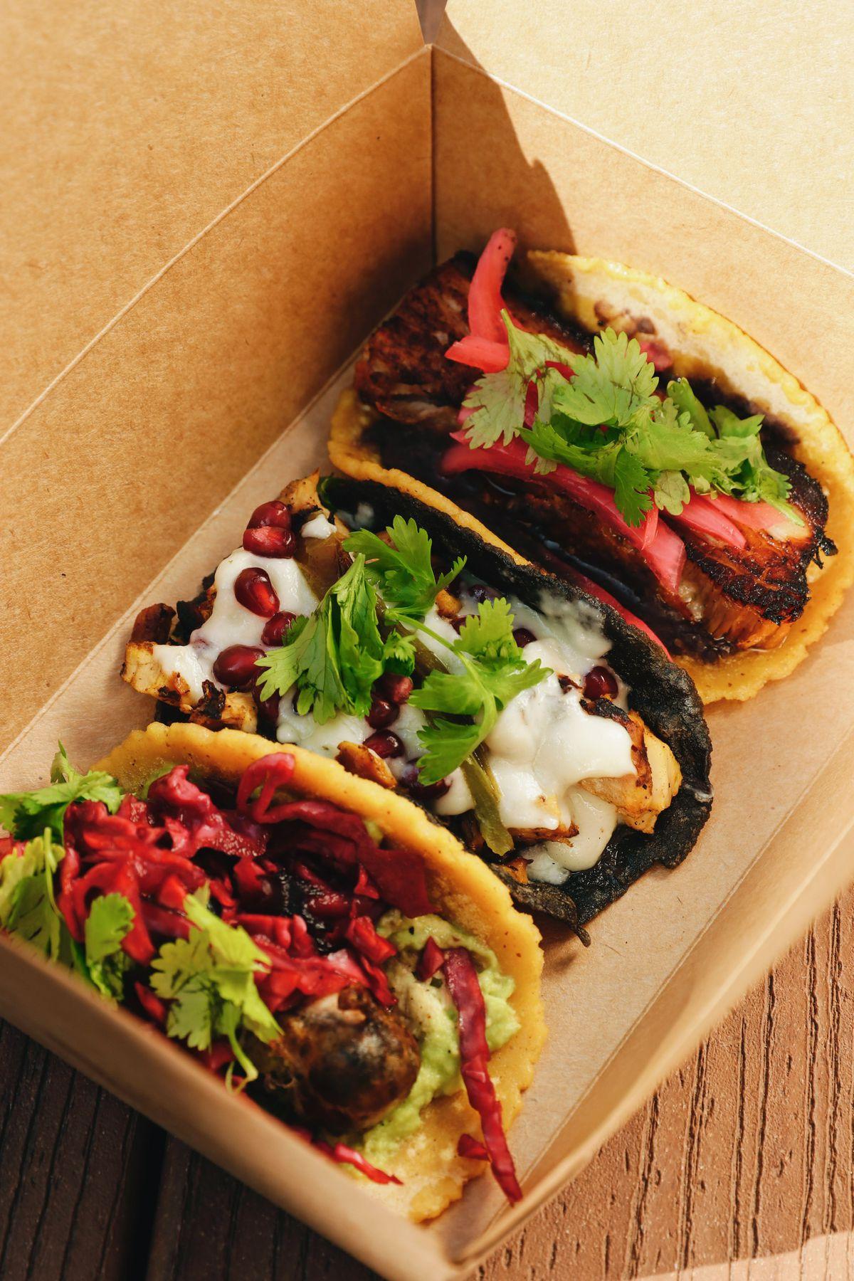 Los Taquero Mucho's tacos at BLVD MRKT in Montebello, California