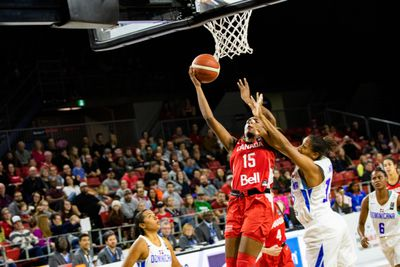 Canada's Aaliyah Edwards and Dominican Republic's Giocelis...