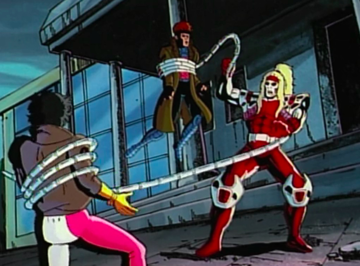 Omega Red grabs Gambit and Jubilee with his tentacles in Red Dawn: X-men the animated series