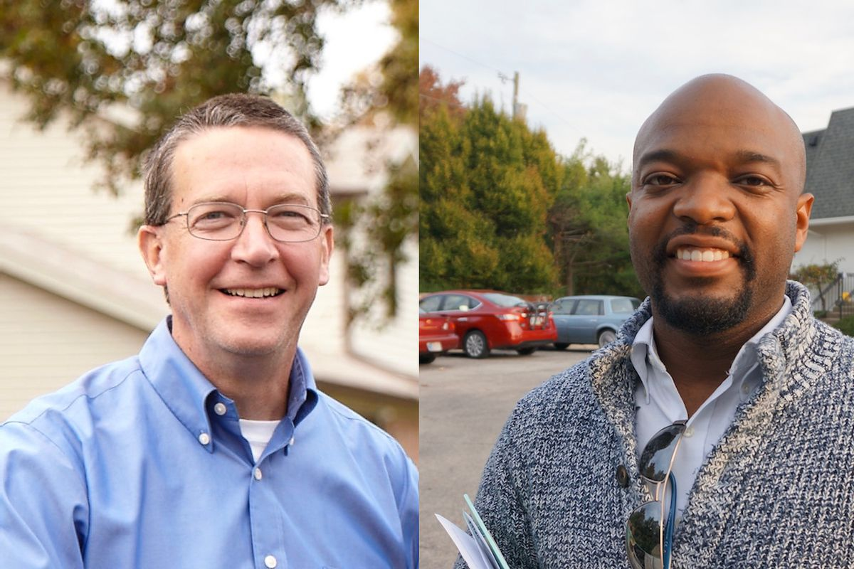 John Fencl (left) and Deitric Hall (right) are running for Washington Township School Board.