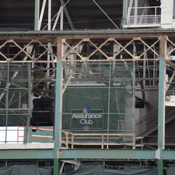 12:29 p.m. A closer view of the exposed framework, along the top of the west side of the ballpark -