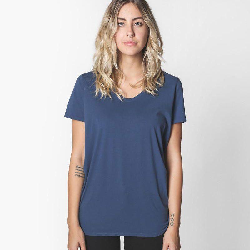 A scoop neck T-shirt