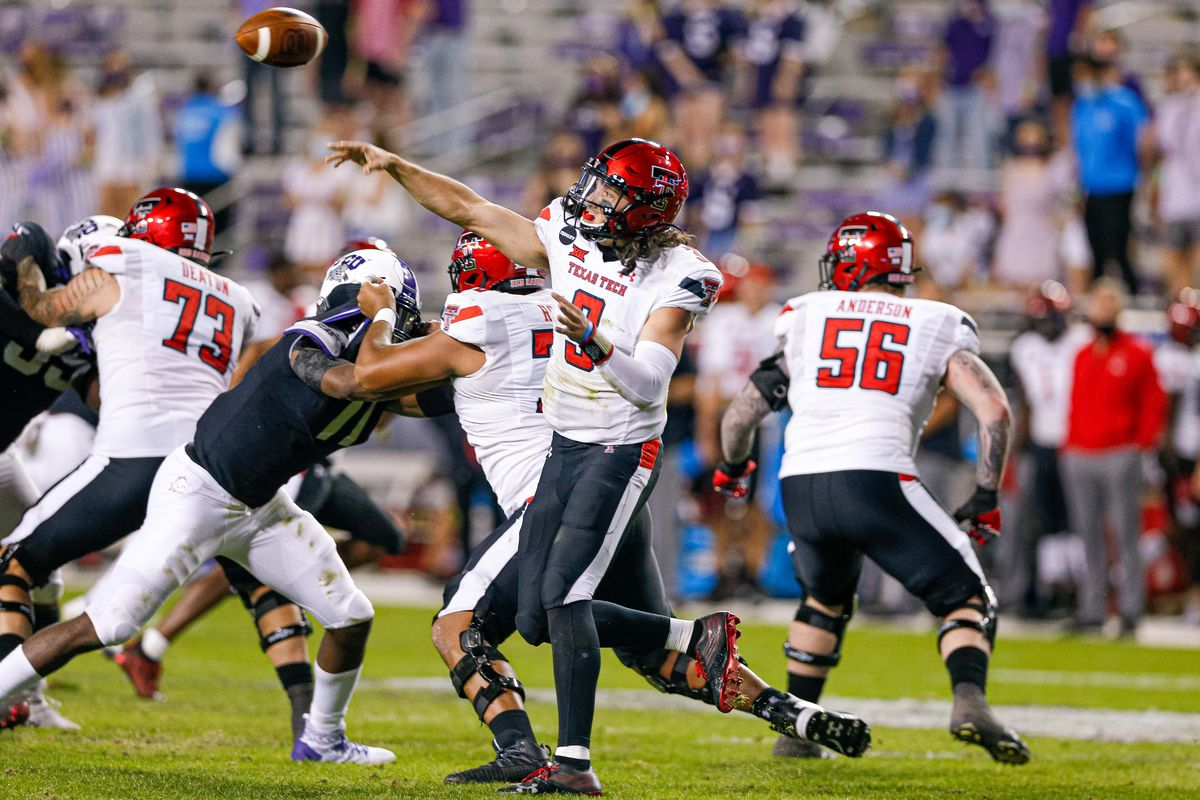 Texas Tech Red Raiders quarterback Henry Colombi (3) throws a pass against the TCU Horned Frogs during the fourth quarter at Amon G. Carter Stadium.