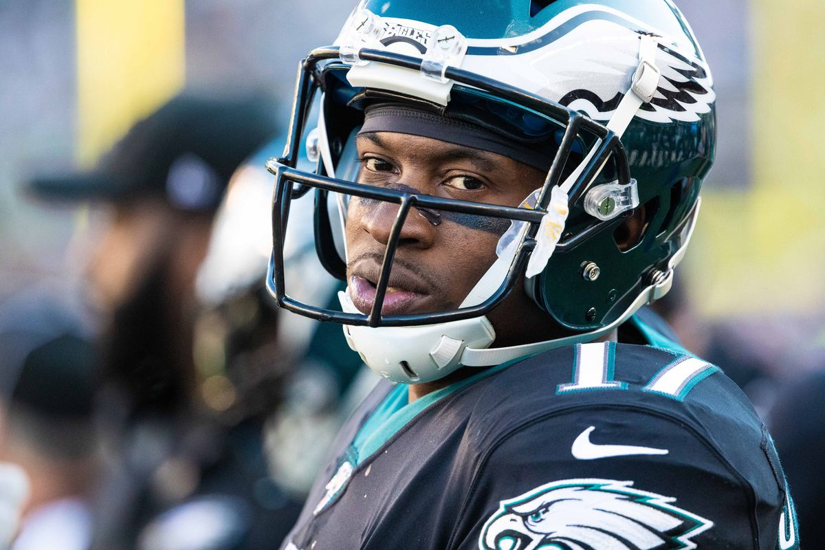Philadelphia Eagles wide receiver Alshon Jeffery looks on against the Chicago Bears at Lincoln Financial Field.